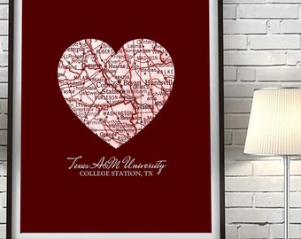 Texas A&M Aggies College Station Texas Vintage Heart Map Art Print, Christmas gift for her, gift for him, man cave