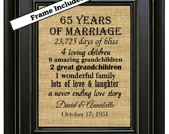 framed 65th wedding anniversary 65th anniversary gifts 65th wedding ...