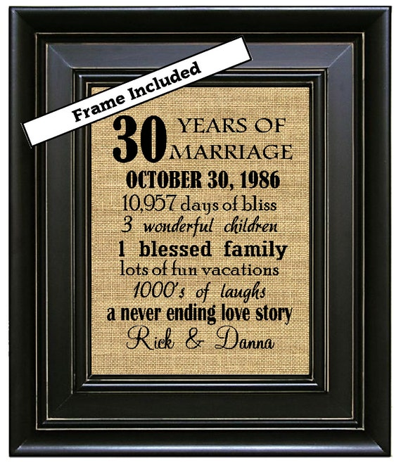 30 Wedding Anniversary Gifts: FRAMED 30th Wedding Anniversary Gift 30th By BurlapNGlass