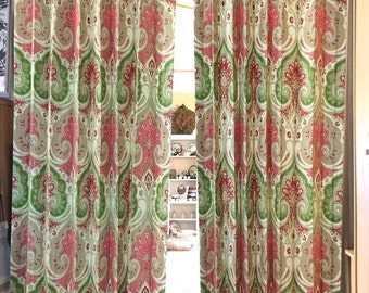Curtain Panels - Pink & Green Paisley Drapes - Window Treatments - Sold in Pairs