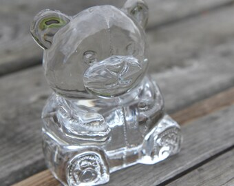 Party Lite Tealight Votive Clear Glass Teddy Bear Candle Holder