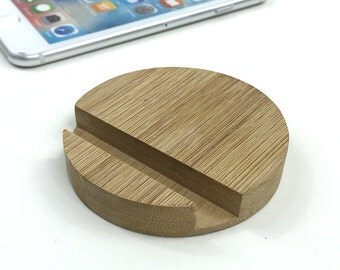 Bamboo iPhone Stand(uncoated)-circular,Wooden Phone Stand, iPhone Docking, Wood iPhone Stand,Phone Dish,Dock Station,Ergonomic Phone Stand