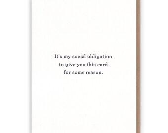 Social Obligation Card // Letterpress