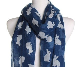 Navy Bunnies Scarf / Oversized Shawl / Ladies Womens Scarves Cover Up / Gifts Ideas For Her / Cute Wrap / Animal Lover / Bunny Rabbit Print