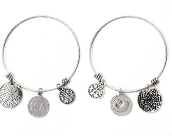 Kappa Delta Expandable Wire Bangle Bracelet - White Gold Plated