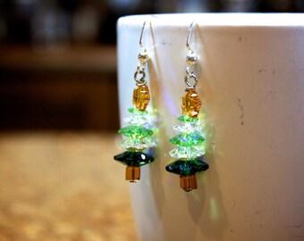 Crystal Christmas Tree Earrings.  #21