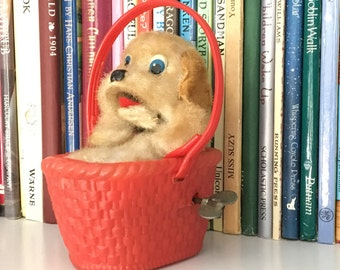 Puppy, Puppy in a Basket, Vintage Wind Up Toy, Vintage Mohair Puppy, Japan, Barking Puppy Toy