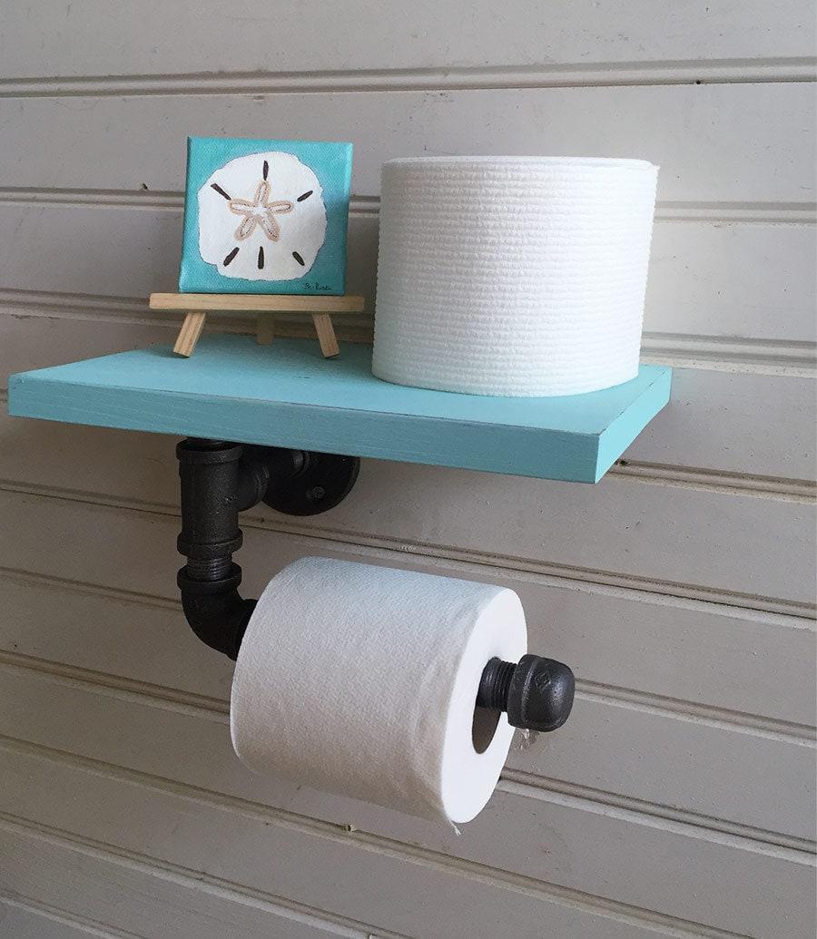 Toilet paper holder pipe shelf for wall beach bathroom - Beach toilet paper holder ...