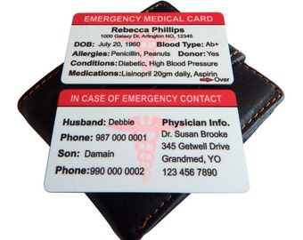 Emergency Medical Card,911 Card,Medical Alert Card,Medical ID card,Custom Medical Contact Card, Allergy Card, Personalized Health Info Card