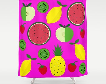 Fruits shower curtain-Orange tropical curtain-Fuchsia curtain-Pineapple curtain-Kiwi curtain-Lemon-Apple-Cool curtain-71x74 shower curtain
