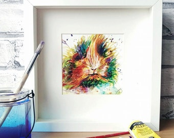 Guinea Pig PRINT, Guinea pig painting, guinea pig gift, guinea pig lover, cavy print, rodent gift, animal print, colourful print, pet art