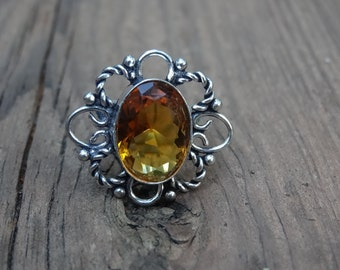 Sterling silver Natural Citrine RING Size 7 - Sterling Silver Ring - Gemstone Ring - Citrine Ring size 7 - Natural Stone Ring -