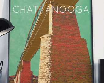 Chattanooga, TN Bridge Poster 11x17 18x24 24x36