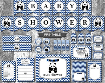 Navy Blue Panda Boy Baby Shower Decorations Package Digital Printable PDFs Instant Download- Baby Shower