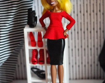 Red top and black leather skirt for adult Monster high dolls