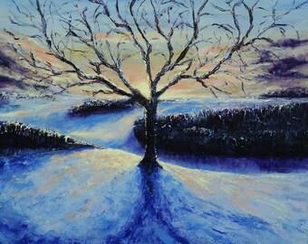 ORIGINAL ART Modern Painting Palette Knife Textured Painting- Cold sunrise