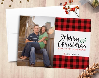 Buffalo Plaid, Christmas Card, Holiday Card, Merry Christmas, Photo Card, Happy Holidays, Personalized, Holiday Greetings, Buffalo Check