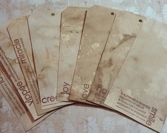 Coffee Stained Definition Tags, Handstamped, Hand dyed, Journal Spots, Gift Tags