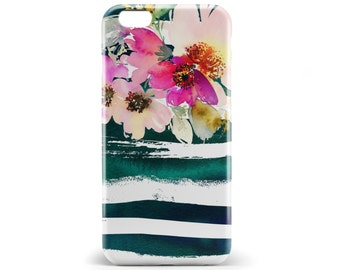 1384 // Watercolor Flower Bouquet on Stripes Phone Case iPhone 5/5S, 6/6+, 6S/6S+, Samsung Galaxy S5, S6, S7
