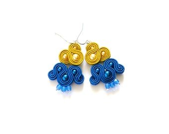 Dark blue earrings, cobalt blue earrings, dark yellow earrings, bicolored earrings, boho earrings, dangle earrings, soutache earrings