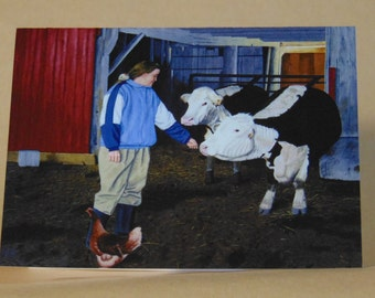 Kim in the Barnyard Greeting Card
