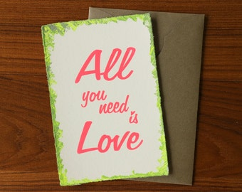 """Japanese """"Washi"""" Greeting Card / All you need is Love"""