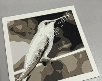 Hummingbird 6 Layer Greyscale Paper Cut **Print and Cut Yourself**