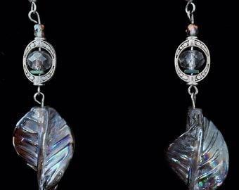 Handmade Beaded Iridescent Leaf and Crystal Dangle Earrings