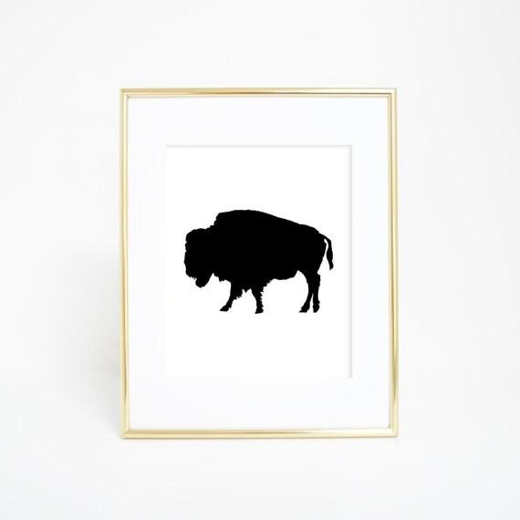 Black Bison Art, Buffalo Silhouette Print, Black & White Buffalo Print, Printable Buffalo Art, Digital Print, Instant Download, Printables