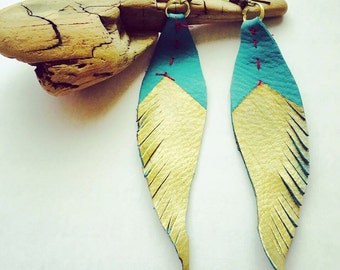 Stiched leather feather gold dipped earrings