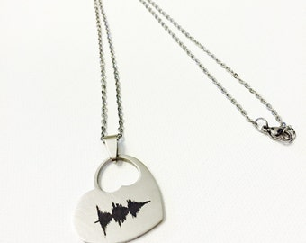 YOUR Waveform & Translation Engraved on on Upgraded Chain Heart Necklace Personalized Laser Marked Sound Wave