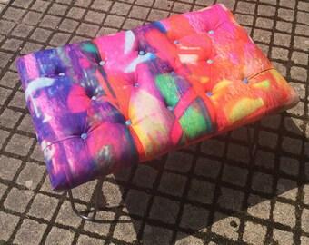 Graffiti print footstool with hair pin legs