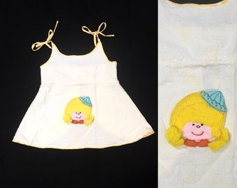 1970's Girl's Top   Embroidered Girl Print Tie Tank Top
