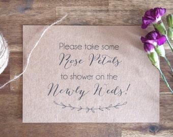 Wedding Rose Petal Sign