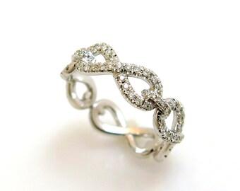 Infinity diamond ring, Infinity engagement ring, Pave diamond ring, Alternative engagement ring, Diamond wedding band, 14k white gold ring
