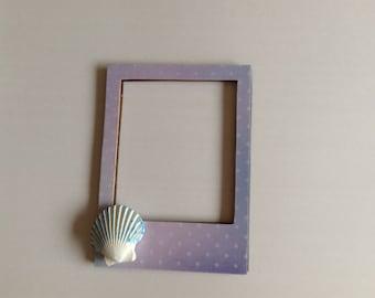 Shell magnetic photo frame, seashell, stocking stuffer, gift idea, teacher gift, beach house decor