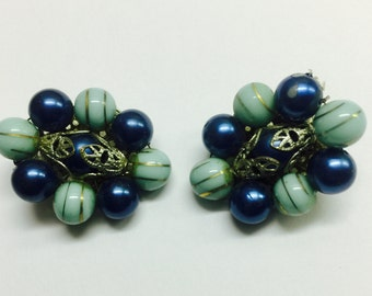 Navy Blue and Light Blue Clip-On Earring