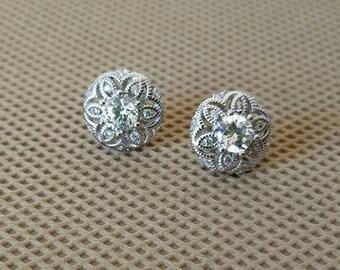 CZ Round Flower Earrings- Cubic Zirconia Earrings