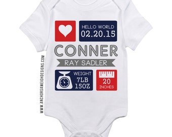 Birth Stat Infant Bodysuit Red & Navy