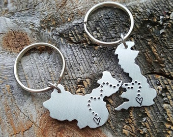 Custom Keychain Set ANY State hand stamped gift long distance relationship gift couples gift United Kingdom China Keychain Best Friends Gift