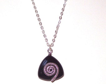 Black & Silver SWIRL Pendant Necklace * FUN * Unique