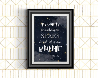 Psalms 147:4 | He counts the Stars, calls them all by Name | JW | playroom | nursery | decor | Bible Verse Printable | jw org 0053