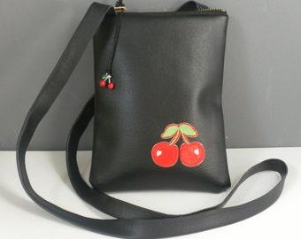 Black vinyl Cherries bag