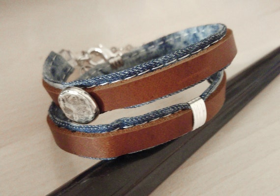 Denim Leather Bracelet, Mens Denim Bracelet, Mens Wrap Wristband, Leather Jeans Wristband, Denim Wrap Bracelet, Denim Leather Jewelry