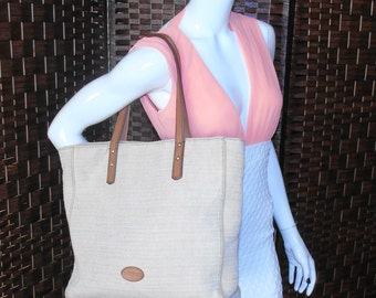SALE FREE SHIPPING....Large Tan Tweed Fabric Fossil Tote Bag Shoulderbag Shopping Bag Carry All Purse