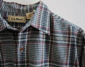 Flannel / Flannel Shirt /  LL Bean Flannel Shirt / Vintage Plaid Flannel Shirt Size Medium Size M