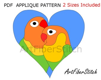 Lovebirds PDF Applique Template Pattern - available for instant download from ArtFiberStitch