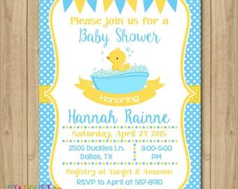 Rubber Duckie Baby Shower Invitation, Rubber Duck Baby Shower, Rubber Duck Invitation, Rubber Duck Boy Invitation