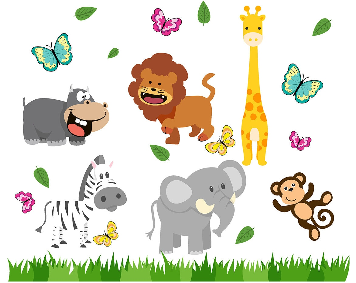 clip clipart animals forest animal graphic printable giraffe cliparts lion etsy monster instant scrapbooking invitations elephant monsters funny cute
