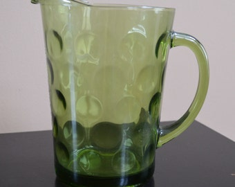 """Vintage green pitcher with polka dots 8"""""""